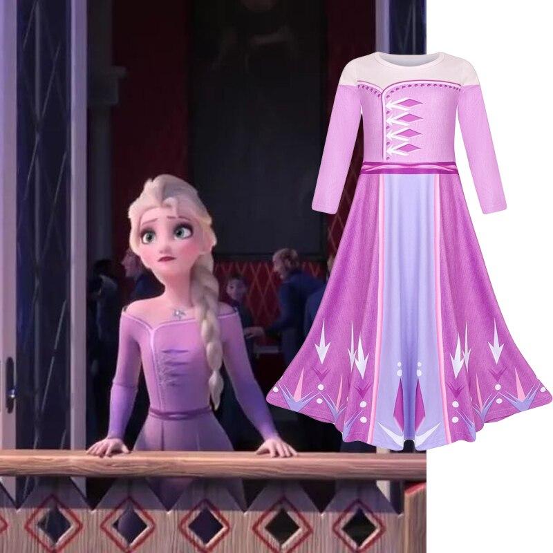 Frozen 2 vestido de princesa Elsa disfraz Cosplay para niñas vestido infantil película Halloween regalo de Navidad Anime baile evento de actuación