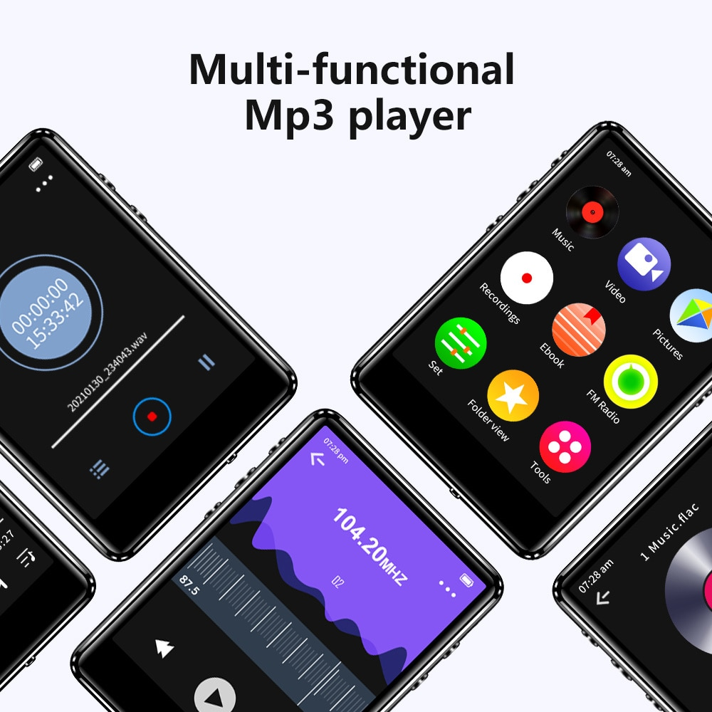 MP3 player with metal bracket and Bluetooth 5.0, built-in speaker,  music player, e-book recording, FM radio and enlarge