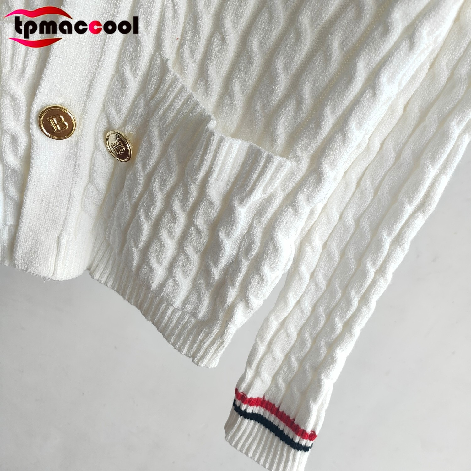 Designer Fashion Fall 2021 Women Vintage White Twist Long Sleeve Metal Letter Logoed Buttons Branded knitted sweater cardigans enlarge