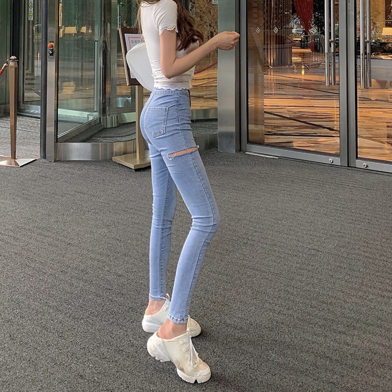 Spring Women's Clothing New Fashion Ripped Stretch Pencil Pants High Waist Casual All-Match Skinny J