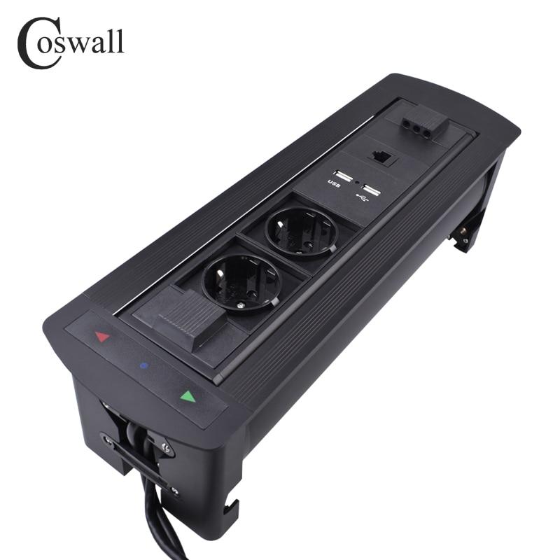 COSWALL-مقبس كهربائي أسود غير لامع ، لمسة نهائية 180 درجة ، 2 قابس أوروبي ، شاحن USB مزدوج ، مقبس ذكي RJ45