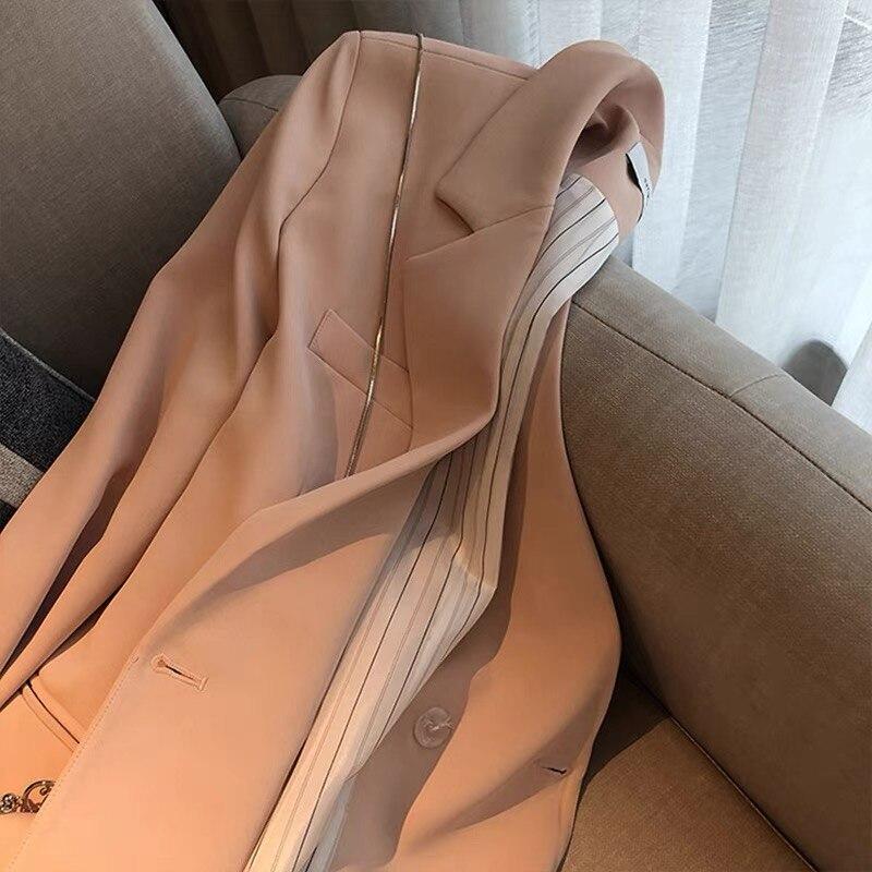 خريف 2021 سترات نسائية فضفاضة سترات نسائية سميكة بأكمام طويلة ملابس خارجية نسائية معاطف أساسية ملابس لون وردي KN275