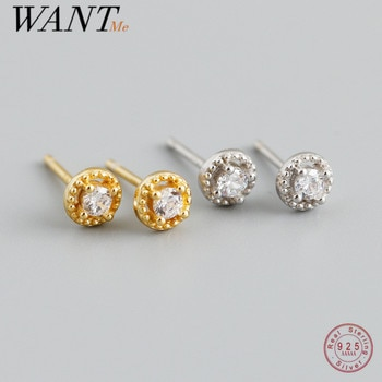 WANTME 925 Sterling Silver Shiny Round Zircon Mini Small Stud Earrings for Women Teen Simple Fashion Chic Party Piercing Jewelry