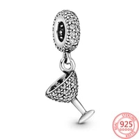new 925 sterling silver for women cocktail glass pendant fit original pandora bracelet necklace making fashion diy jewelry gift