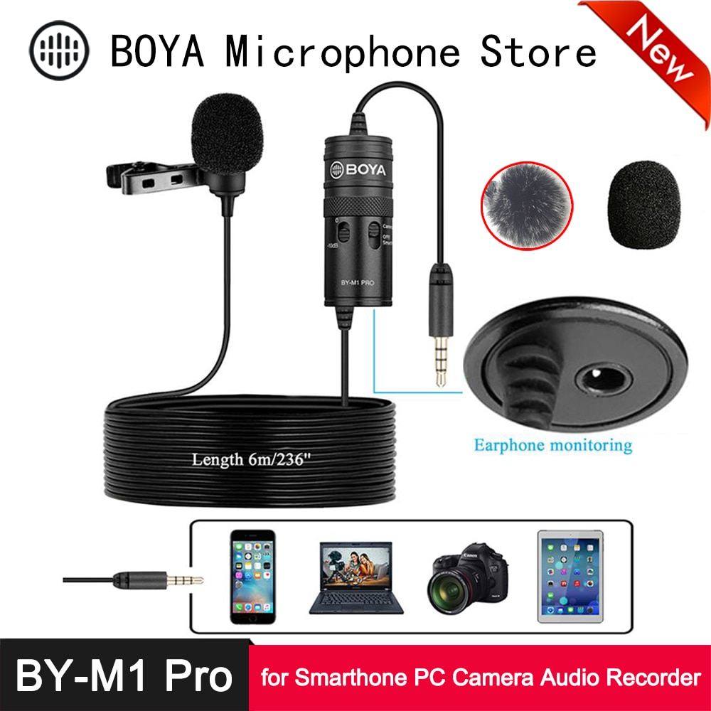 Boya BY-M1 pro microfone de lavalier-10db monitor 6m mic para iphone huawei oppo vivo xiaomi smartphone pc câmera gravador de áudio