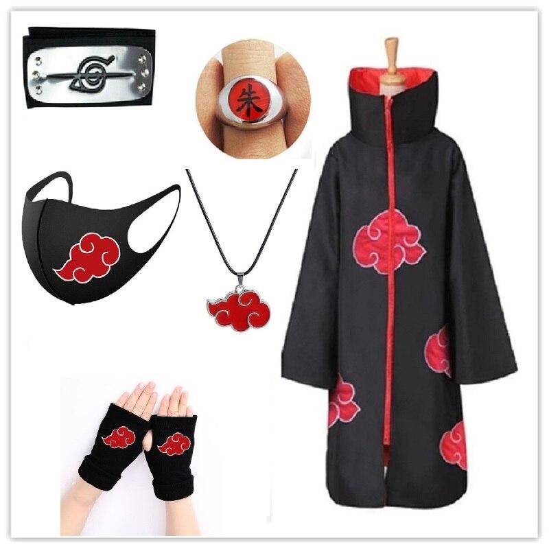 Akatsukic Cloak Narutos cosplay cabeça folha aldeia bandana e luvas de Costume e kunai hatake kakas