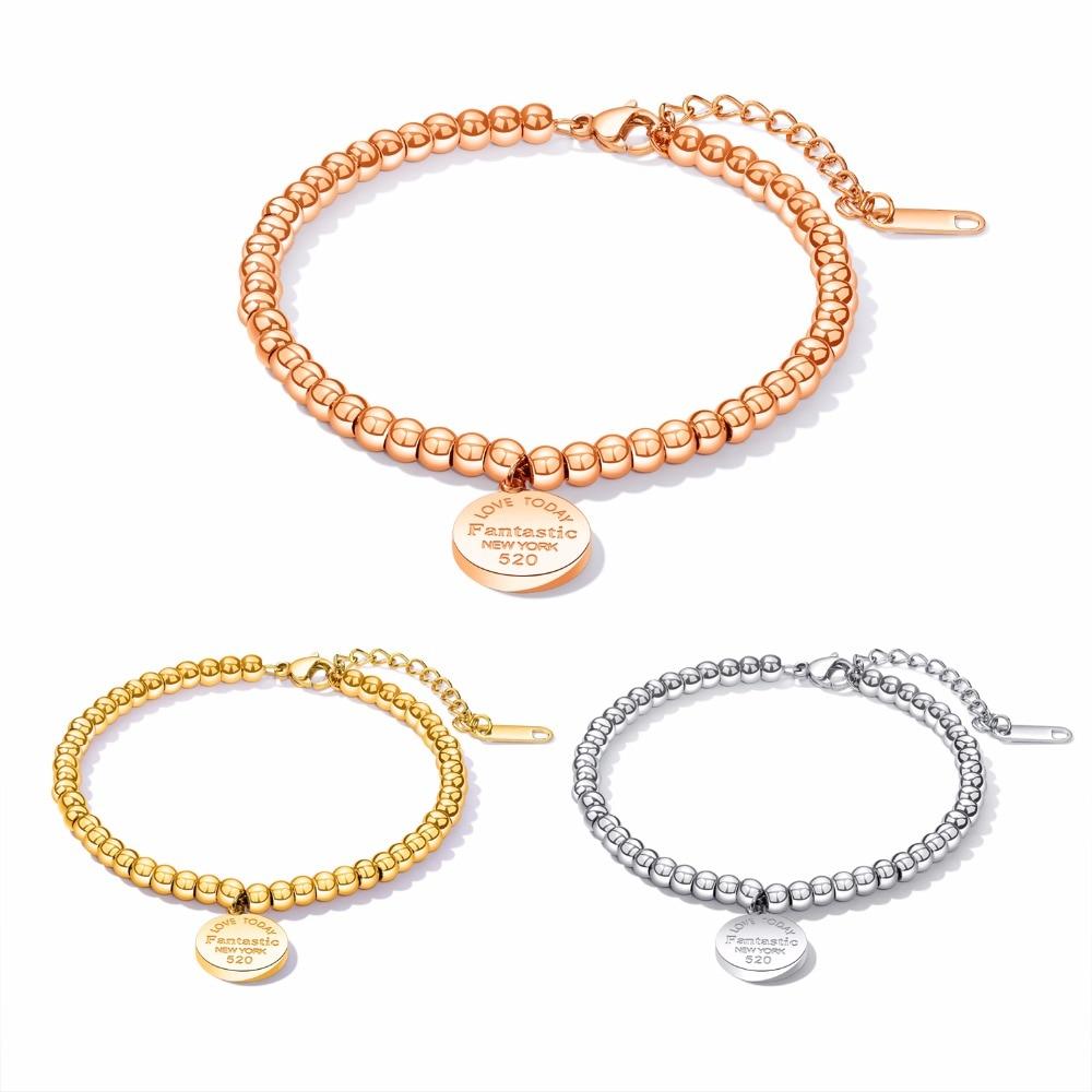 FATE LOVE, pulsera colgante de corazón con cuentas para mujer, joyería de moda de acero inoxidable, color oro rosa y plata GS928