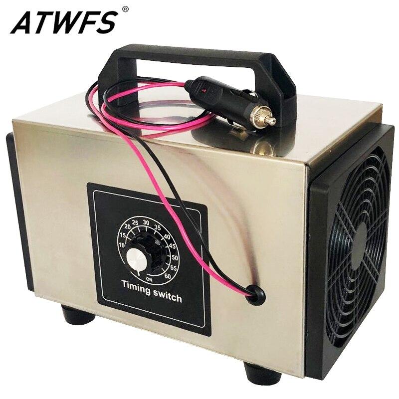 ATWFS Ozone Generator 12v 24g/20g Car Ozonizer Air Purifier Ozonator Machine Ozon Generator with Timing Switch