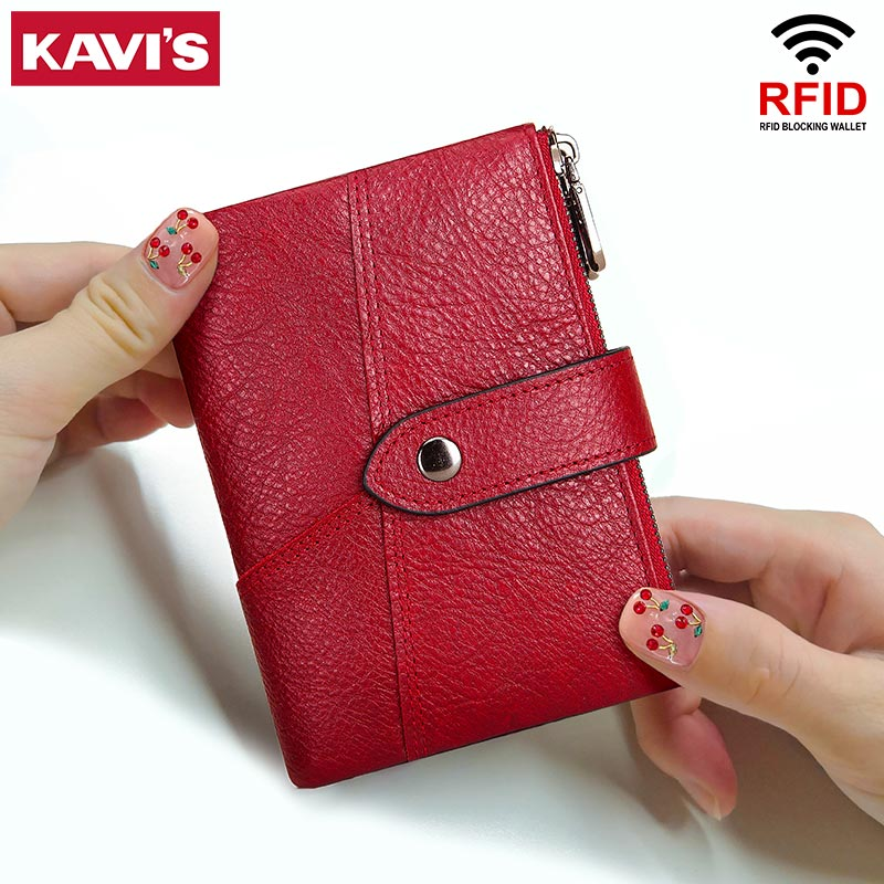 KAVIS Rfid 정품 가죽 여성 지갑 여성 동전 지갑 Portomonee 돈 가방 작은 카드 홀더 여자를위한 붉은 색 패션
