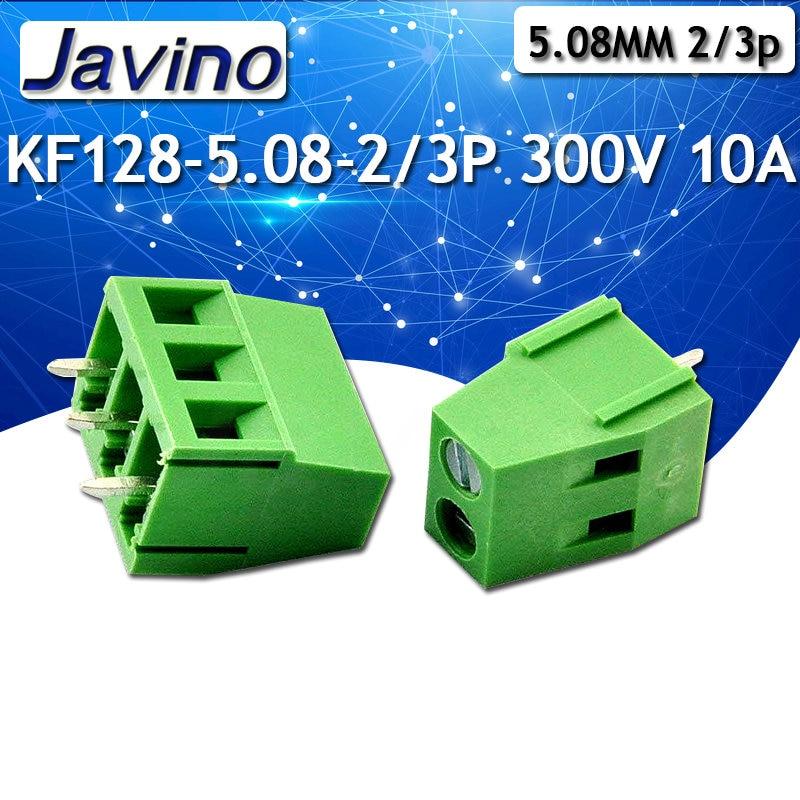 10 unids/lote terminales KF128-5.08-2P/3 p KF128-2P 300V 10A tornillo 2Pin 5,0mm Pin recto PCB tornillo conector de bloque de terminales 22-12AWG
