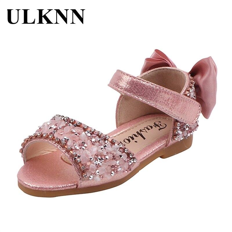 ULKNN Children's Silver Flats Shoes Princess Catwalk Show Single Shoes Soft Bottom Fashion Flats Kids Baotou Leather Shoes