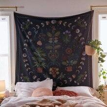 Fase lunare arazzo appeso a parete botanica celeste floreale arazzo da parete Hippie fiore tappeti da parete dormitorio Decor SkyCarpet stellato