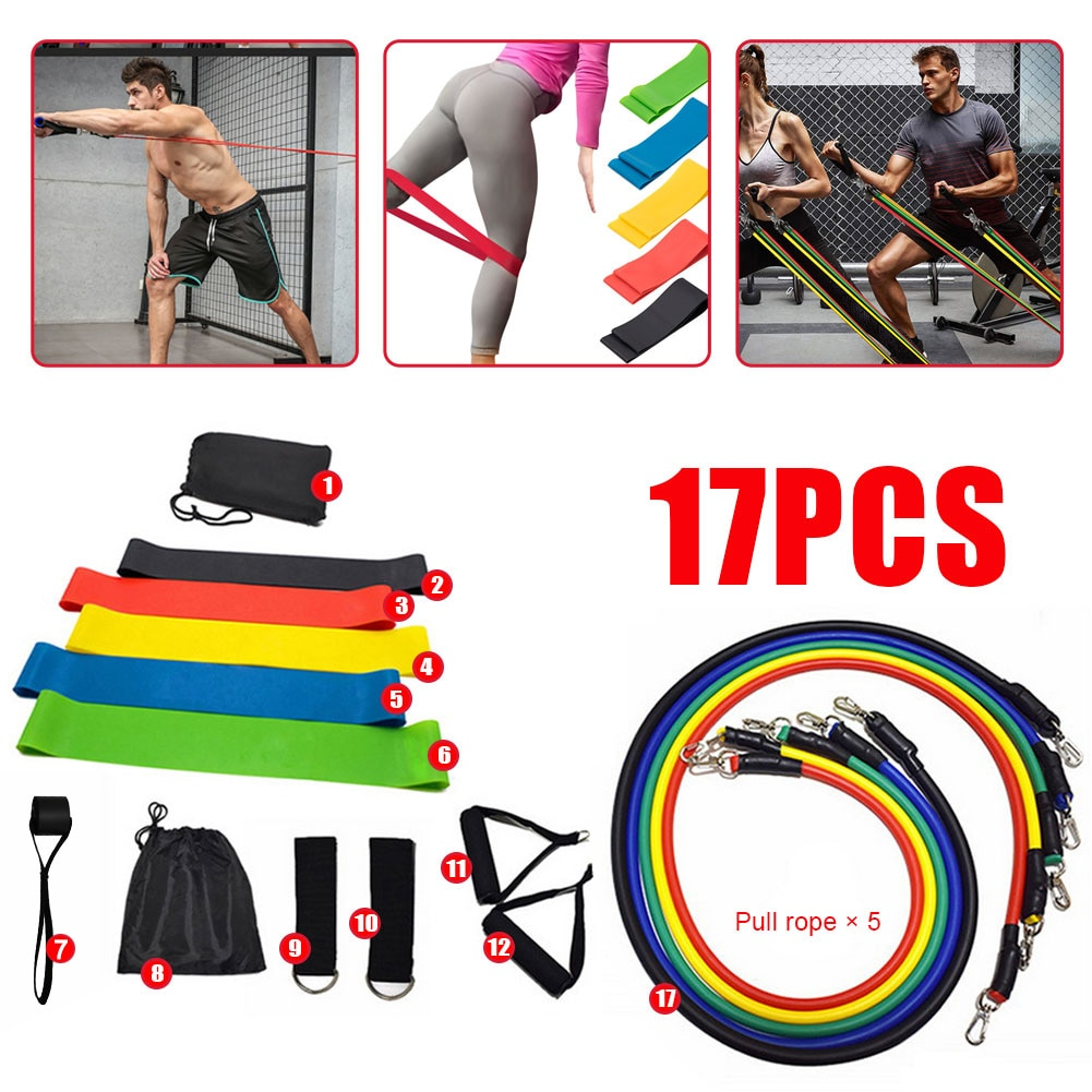 17PCS Multi-Function Sports Resistance Bands Suit Yoga Tubes Pull Rope Fitness Training Strength Belt Elastic Rope Workouts Ring