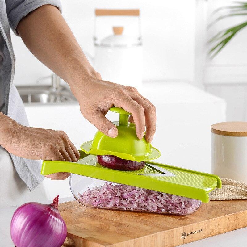 قطاعة الخضراوات متعددة الوظائف قطاعة البطاطس والفواكه تقطيع الجزر مبشرة أدوات مطبخ اكسسوارات الكل في واحد