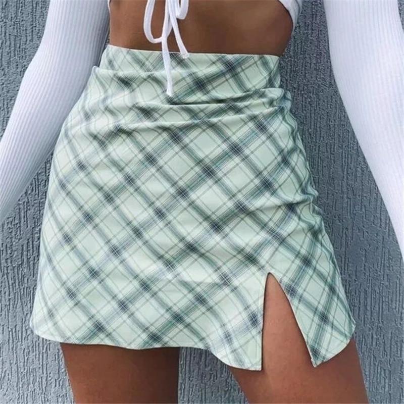 Grün Plaid Printting Röcke Hohe Split Hohe Taille Röcke für Frauen Mini Röcke Vintage Weibliche Dame Frühling 2020 Schule Rock