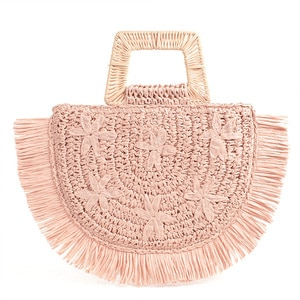 Semicircular Moon Bag Trapezoid Handle Flower Embroidery Handbag Bamboo Rattan Paper Mixed Hand-woven Tassel Straw Bag