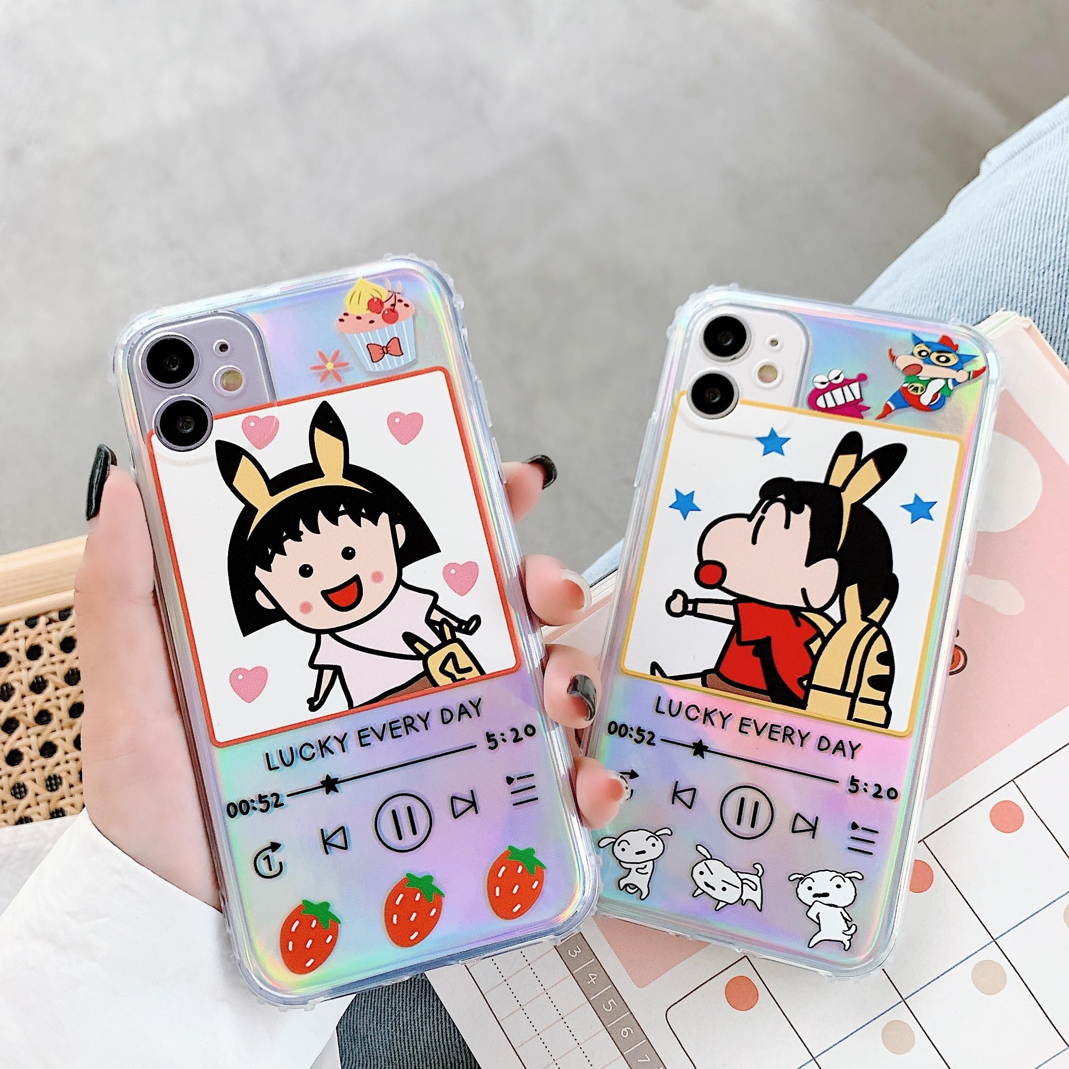 Cartoon Cute Japan Anime Crayon Shinchan Ultraman Phone Case For iPhone 11 Pro X XS Max XR 8 7 Plus Soft Laser Paper Cover Funda