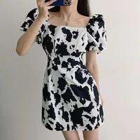 women dress sexy vintage fashion cow print lantern shorts sleeve pullover dress mini printed summer dress 2021 new 859c