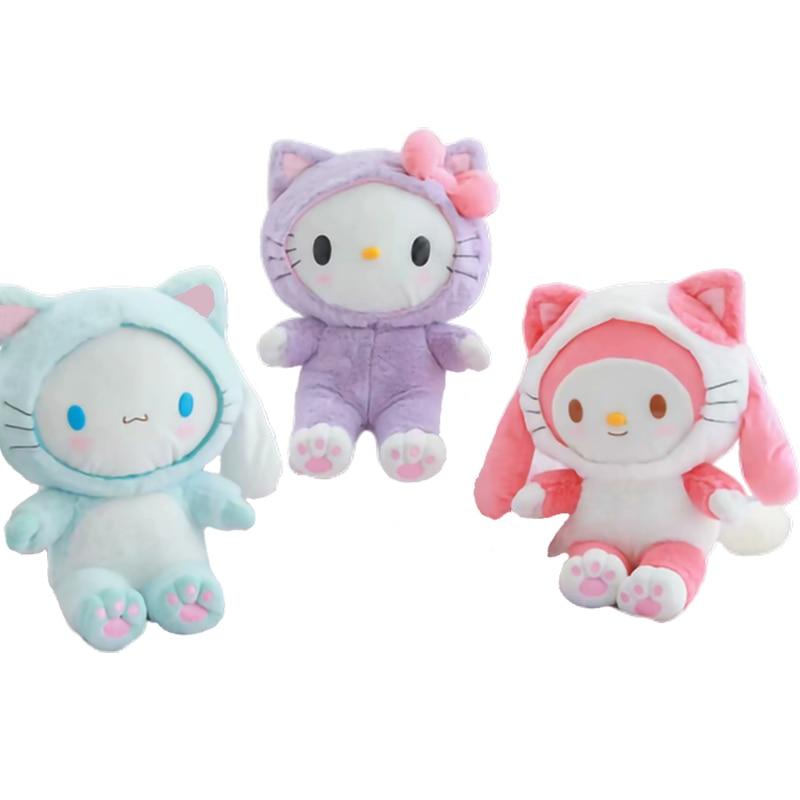 20 см My Melody Cinnamorol Kitty Soft Gevulde Pluche Poppen Симпатичные Аниме Kawali Honden Katten Versieren Zakken детские игрушки