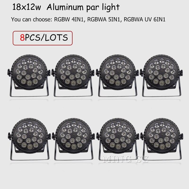 8 قطعة/السلع Led الاسمية ضوء 18x18w RGBWA الأشعة فوق البنفسجية 6 in1 الجدار غسل ضوء 18X12W 4in1 RGBW الزفاف/المرحلة/ديسكو/بار الإضاءة DMX 512