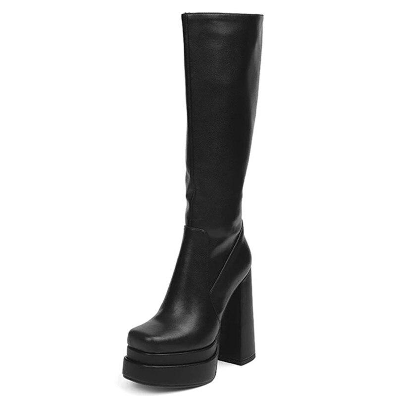 أسود طويل أحذية النساء أحذية منصة جلد طبيعي المرأة أحذية عالية ساحة تو عالية الكعب Demonia أحذية أحذية مصممين 2021