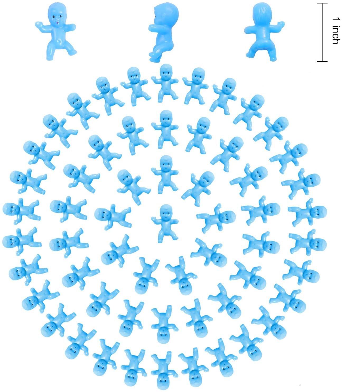 Metable 200 piezas 1 pulgada Mini bebés de plástico carrera azul para Baby Shower elementos de recordatorio para fiestas juego de cubo de hielo decoraciones de fiesta