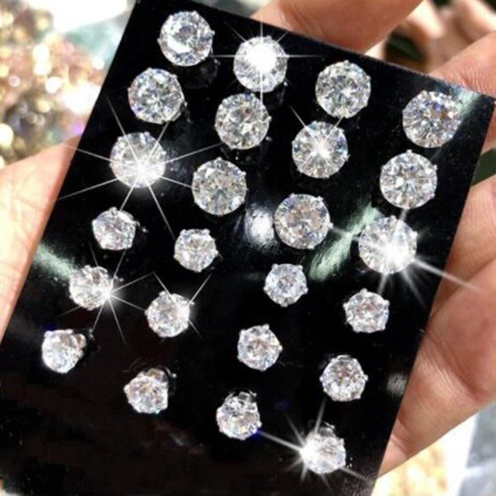 6 par/set de pendientes de moda para mujer y chica, de zirconia plateada, diamantes de imitación, brillantes, sencillos, para fiestas, 6 tamaños