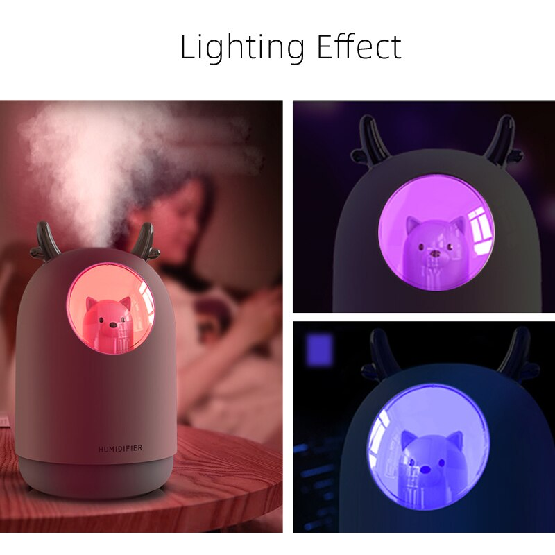 Air Humidifier 300ML Cute Rabbit Ultra-Silent USB Aroma Essential room Car LED Night Lamp  Air Purifier Mist Maker Air Fresher enlarge