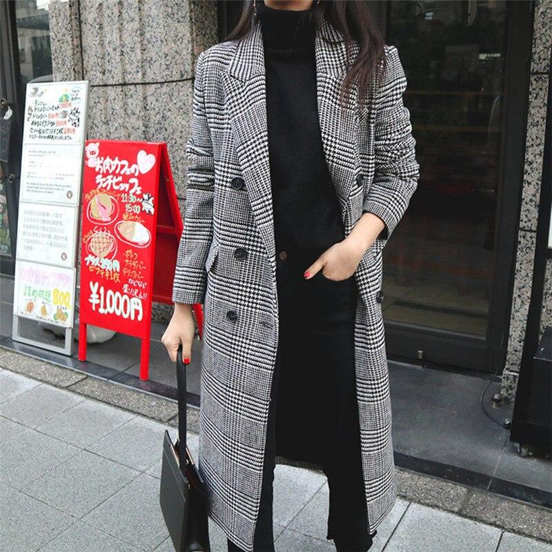 2019 primavera outono feminino casaco xadrez nova moda longo casaco de lã duplo breasted magro feminino jaquetas de inverno outwear wj114