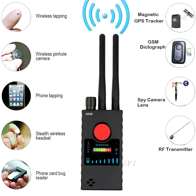 Antena Dual G528 detector por radiofrecuencia de cámara oculta antideslizante señal secreto GPS Audio GSM teléfono móvil Wifi Pinhole Cam espía Bug Finder