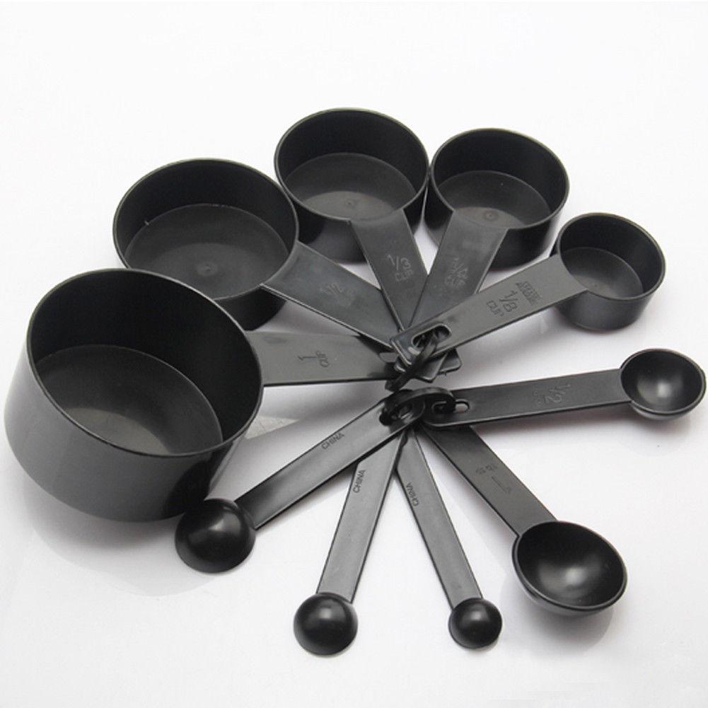 10 pçs cozinha colheres de medição copo conjunto cozimento cozinhar colher de café preto equilíbrio de cozinha bolo cozimento farinha copos de medição