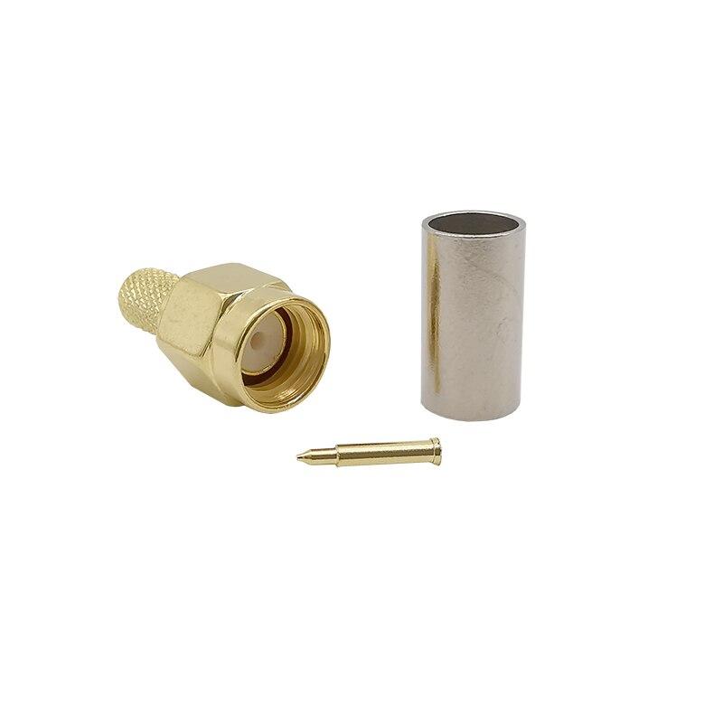 Quanlity SMA conector macho Crimp RG58 RG400 RG142 LMR195 chapado en oro para antena Wifi, antena SMA, enrutador 4G LTE