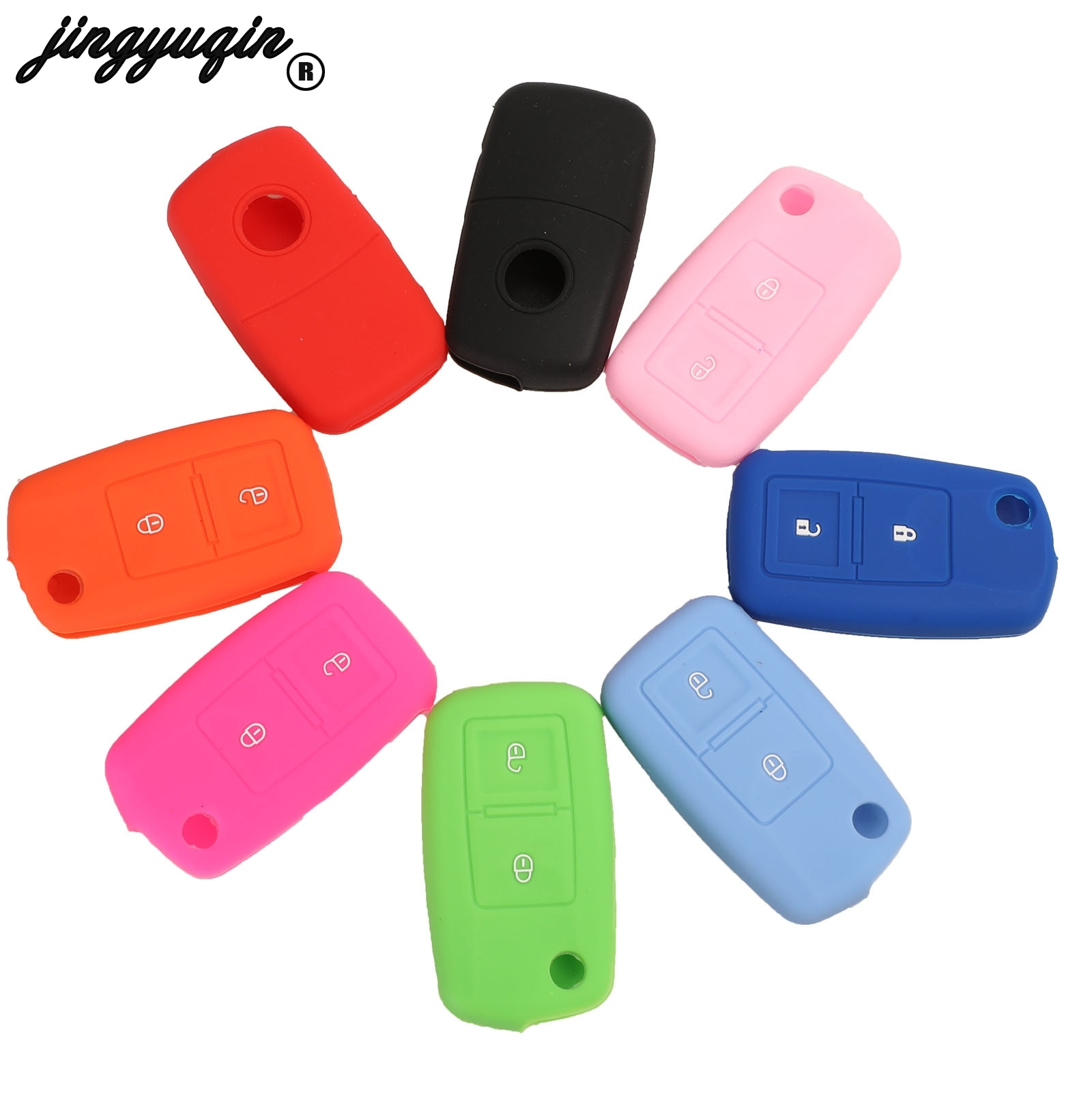Jingyuqin-Funda de 2 botones para llave de coche, llavero para Volkswagen Amarok...
