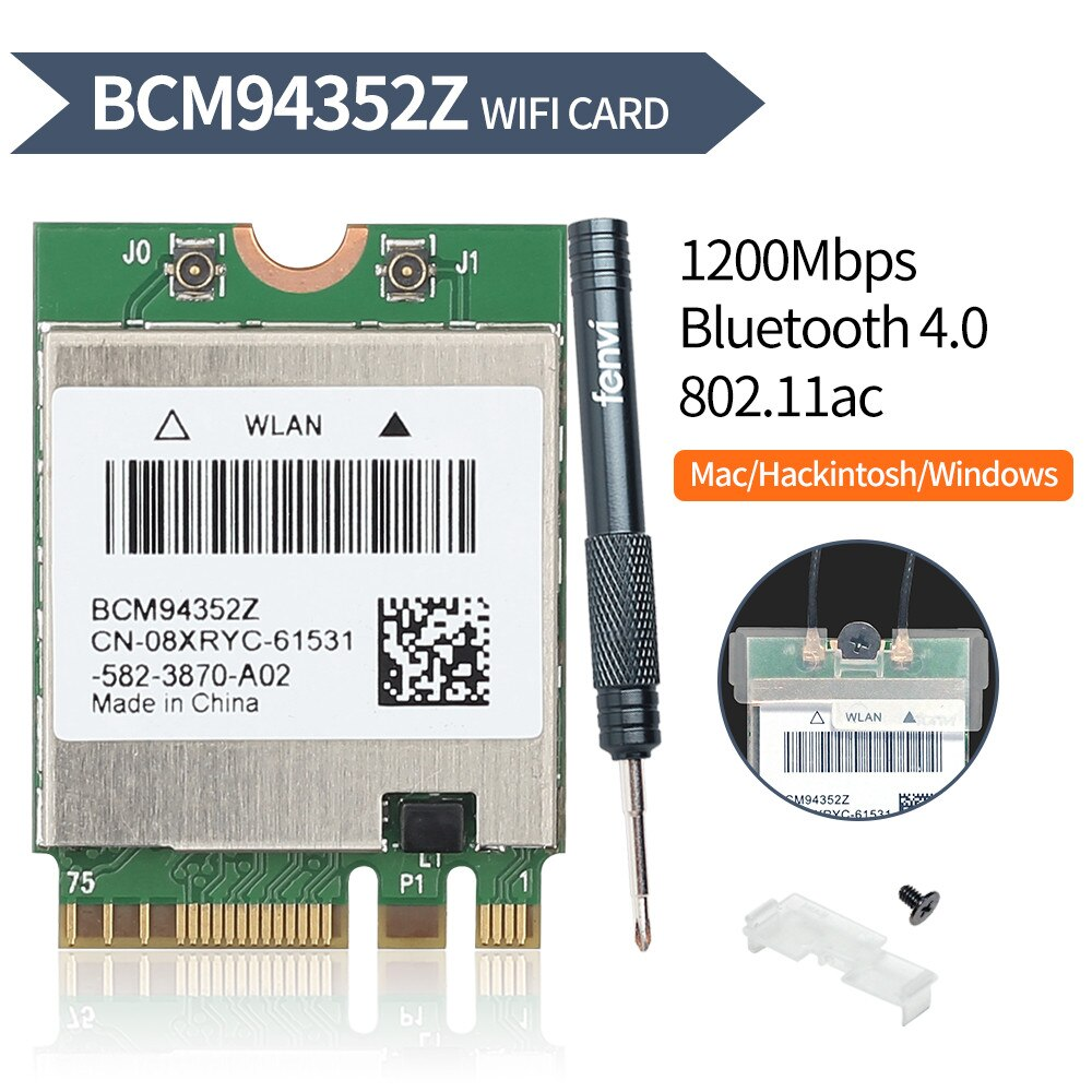 Двухдиапазонный BCM94352Z 867 Мбит/с Bluetooth 4,0 802.11ac BCM94360CS2 NGFF M.2 WiFi WLAN карта DW1560 для ноутбука Windows macOS Hakintosh