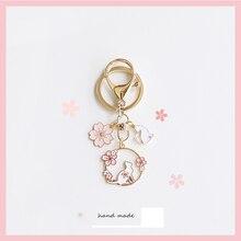 Korean Cherry Flower Ring Cat Keychain Womens Keyring Adorable Key Holder Pendant for Airpods Case C
