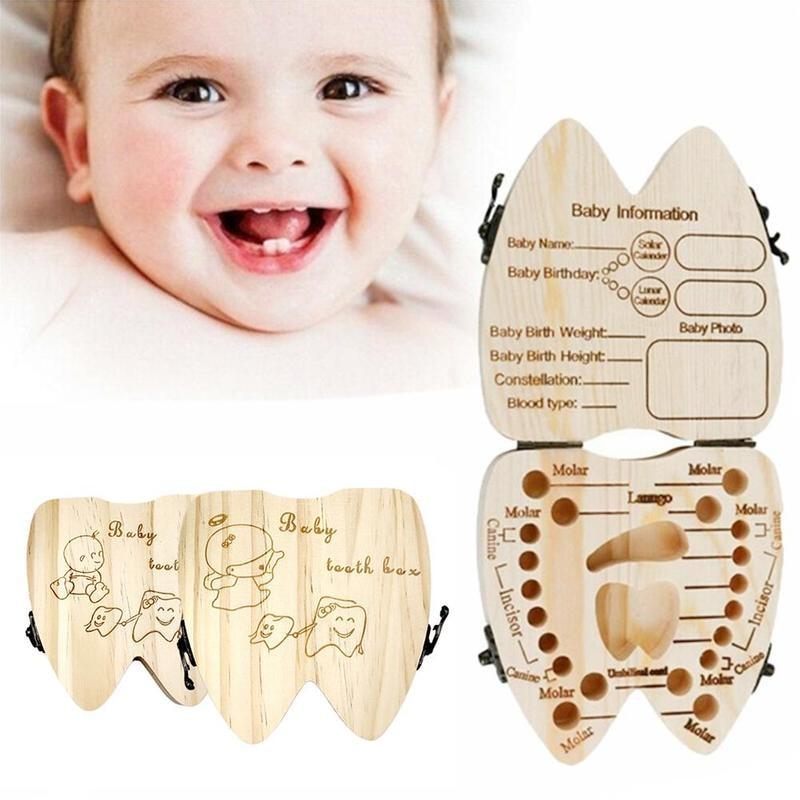Caja de dientes de bebé, caja de recuerdo con dientes de leche pequeños y bonitos, regalos conmemorativos para el crecimiento de los niños, caja de almacenamiento de dientes para niños, regalos de cumpleaños