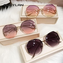 Oulylan 2021 Fashion Tea Gradient Sunglasses Women Ocean Water Cut Trimmed Lens Metal Curved Temples