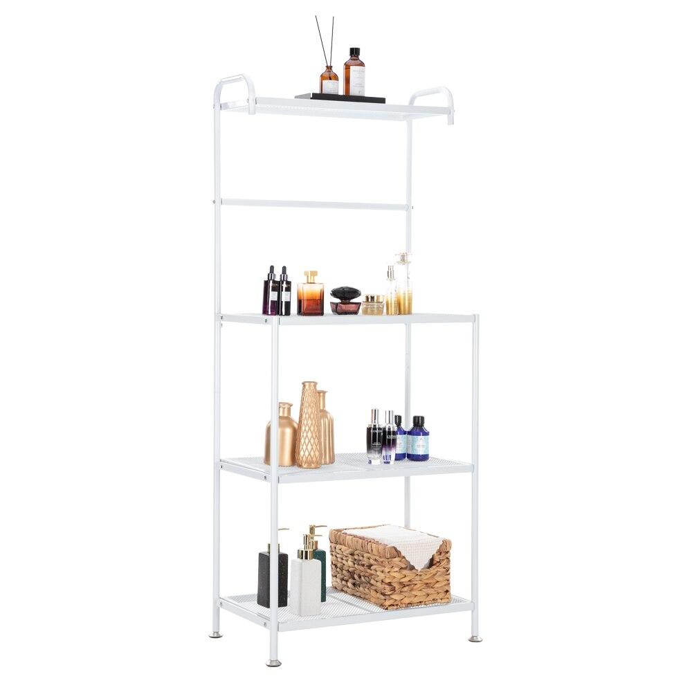4-Layer سلك شبكة الجرف الحديد المطاوع متعددة الوظائف المطبخ تخزين الرف قابل للتعديل قدم الأبيض للمنزل مكتب المدخل [US-W]