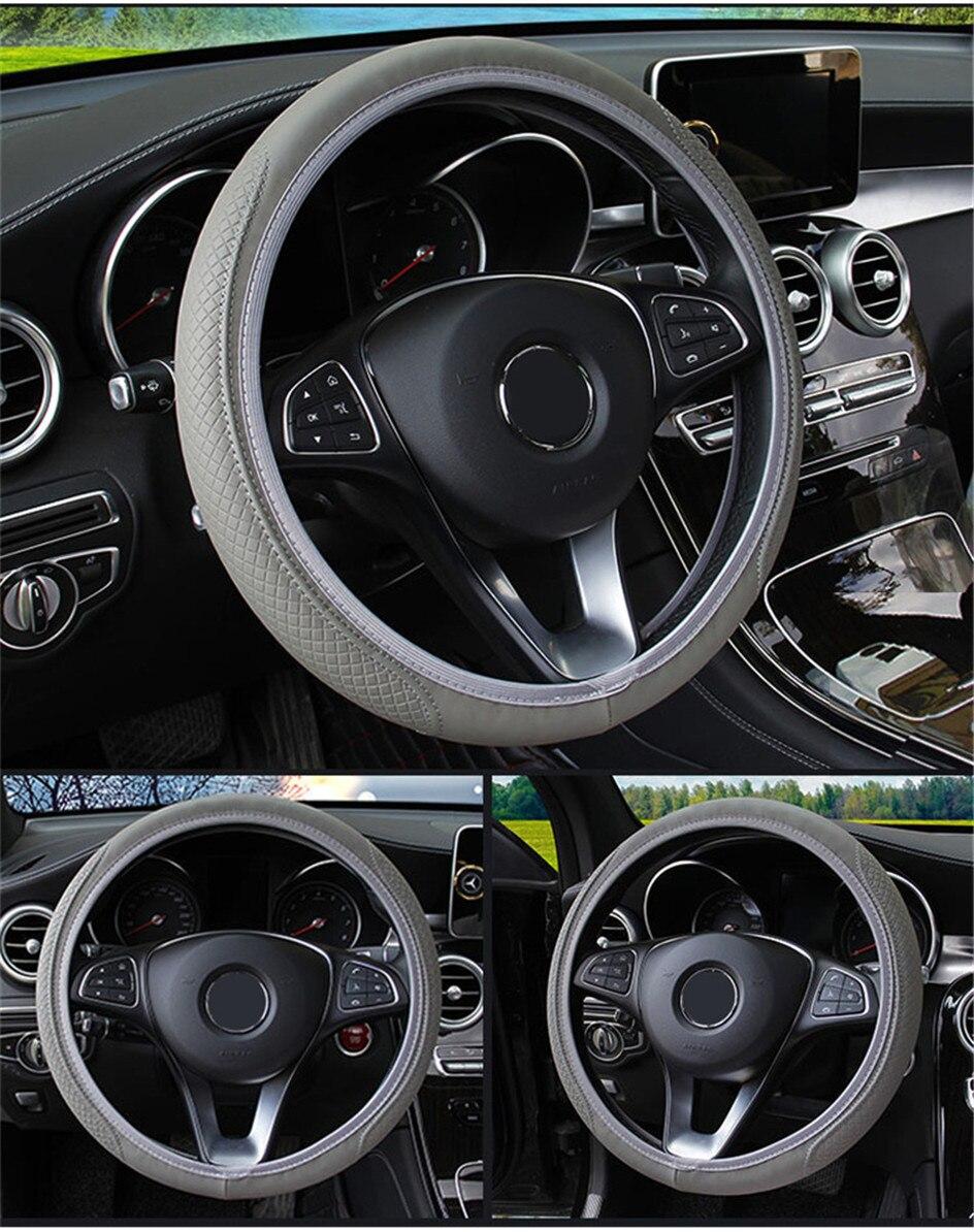 Tampa Da Roda de Direcção Do Carro De Couro Universal Anti-Slip Para Ford Focus 2 3 Ecosport Mondeo Fiesta Transit Kuga BORDA estilo do carro