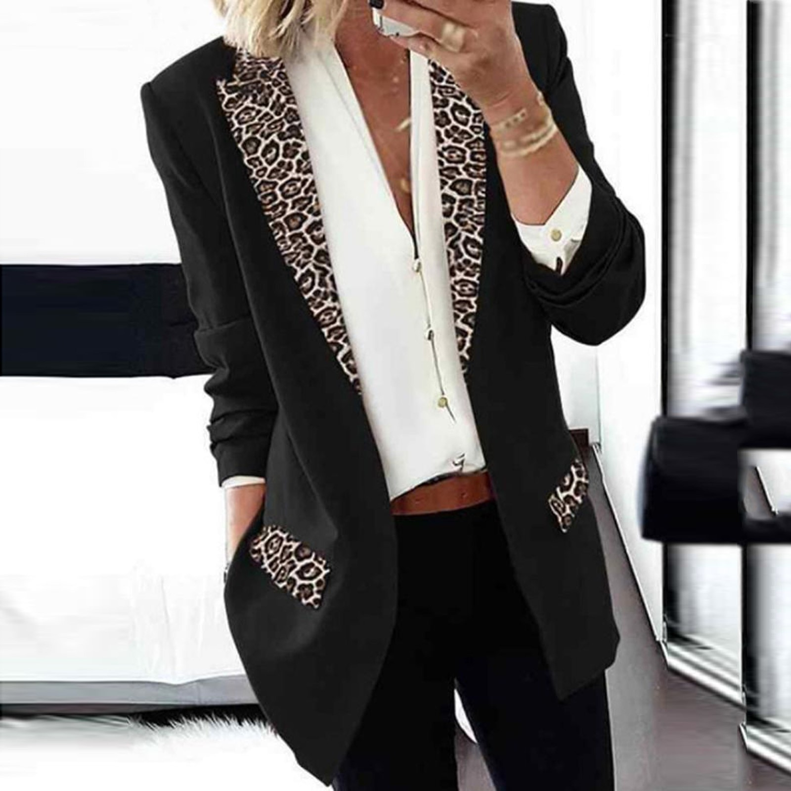 Fashion Women's Spring Jacket Lapel Long Sleeve Cape Leopard Notch Laple Blazer Casual Office Suit O