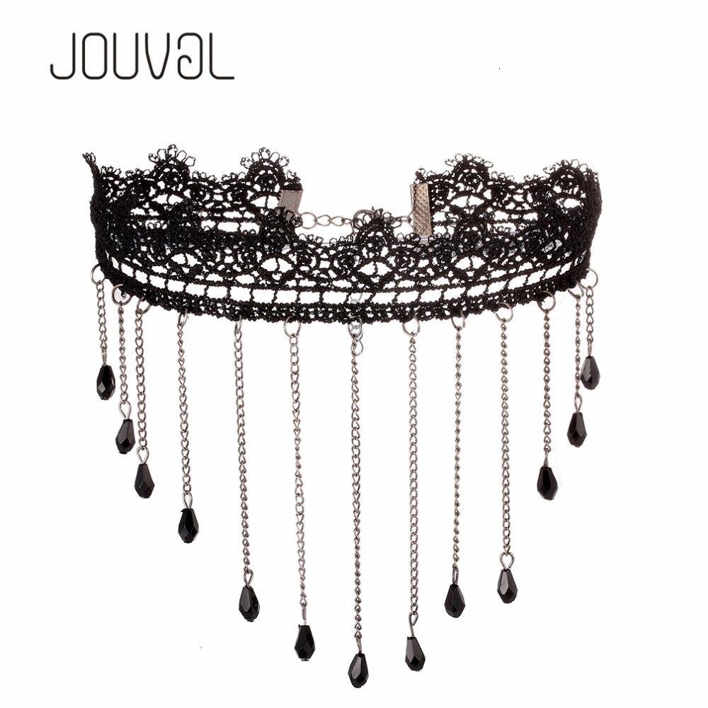 JOUVAL Chokers, сексуальный ошейник, готический черный кружевной шейный чокер, ожерелье, винтажное викторианское женское чокер в стиле стимпанк, ювелирное изделие, распродажа