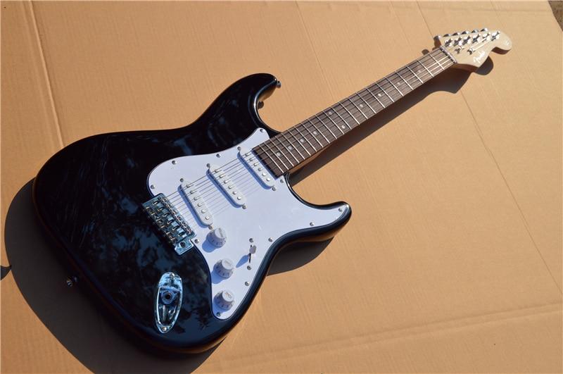 Ponto st guitarra elétrica preto de alto brilho 39 polegadas guitarra elétrica com acessórios de ferragem branco. Frete grátis