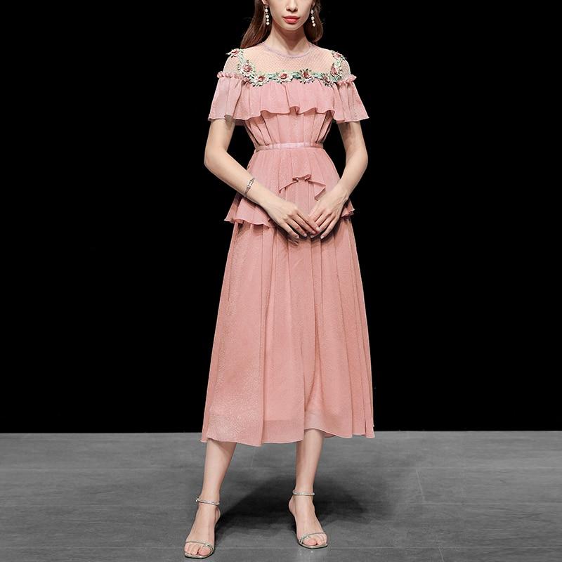 Seifrmann de pista vestido volantes de encaje Patchwork 3D Floral de gasa verano Playa Damas vestidos