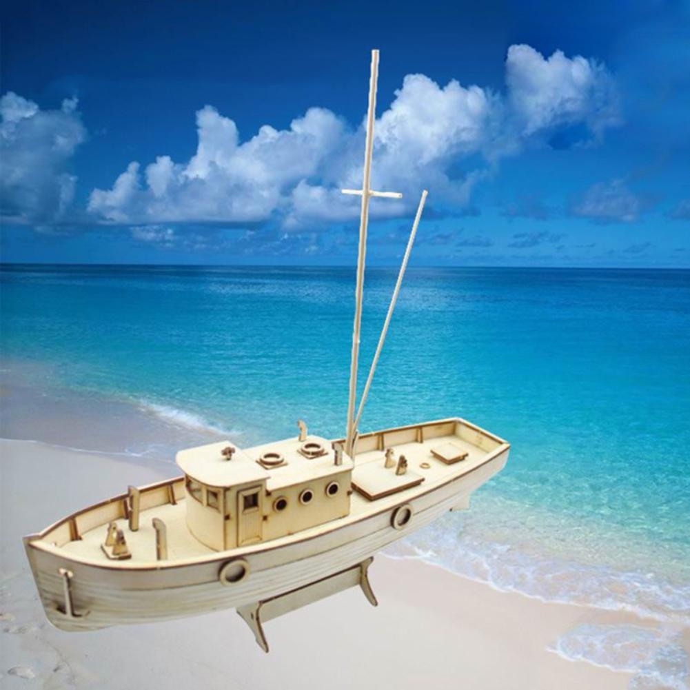 1/30 montado Nurkse Barco De Pesca Modelagem Crianças Puzzle Brinquedo DIY Crianças Artesanato Em Madeira Brinquedos Educativos de Construção de Barcos