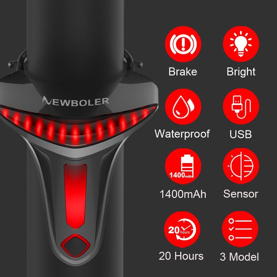 NEWBOLER Sensoring Brake Bicycle Tail Light Auto Star Stop USB Bike Lights LED Cycling Taillight Flashlight For Bike Accessories