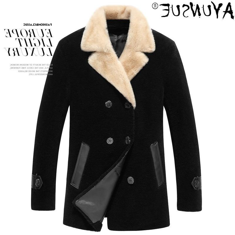 Real Fur Coat Men Autumn Winter Male Jacket Mink Fur Collar 90% Wool Mens Jackets and Coats Plus Siz