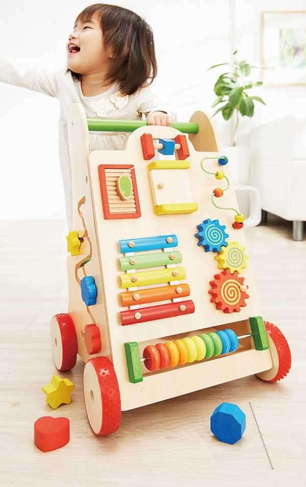 Andador multifuncional japonés juguetes de madera para niños