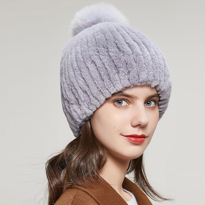15 Colors Women Fur Hats Real Rex Rabbit Fox Fur Knitting Plush Ball Beanies Caps Winter Warm Elegan