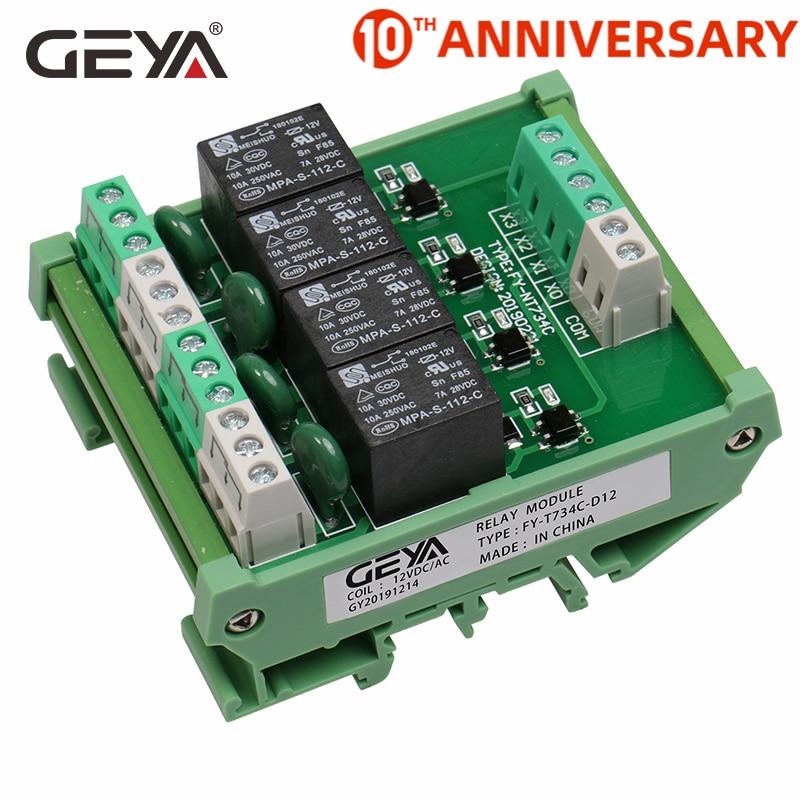 Módulo do relé 220 v 230 v da relação da c.c./ca da montagem 12 v 24 v do trilho do ruído do módulo 1 do relé do canal de geya 4