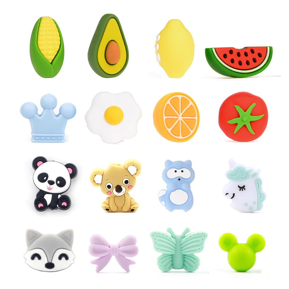 LOFCA 10pcs Silicone Beads Teether Baby Teething Toys Cartoon BPA Free Chew For Baby Food Grade Pacifiers Necklace Accessories